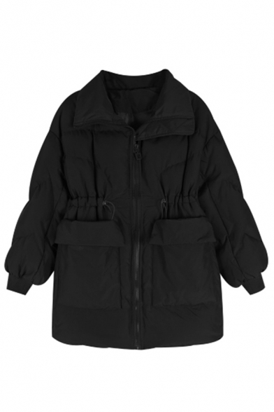 Casual Plain Long Sleeve Lapel Collar Zipper Front Flap Pockets Drawstring Midi Baggy Down Coat for Women, Black;burgundy, LM578856