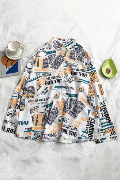 Chic Street Girls' Long Sleeve Lapel Neck Button Down All Over Poster Print Loose Fit Shirt in White