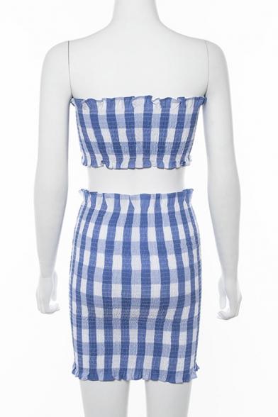 Classic Light Blue Plaid Print Stringy Selvedge Pleated Tube Tank & Mini Skirt Co-ords