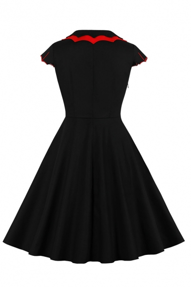 Cool Black Short Sleeve Peter Pan Collar Christmas Printed Contrast Piped Zipper Side Midi Pleated Flared Dress for Party Girls