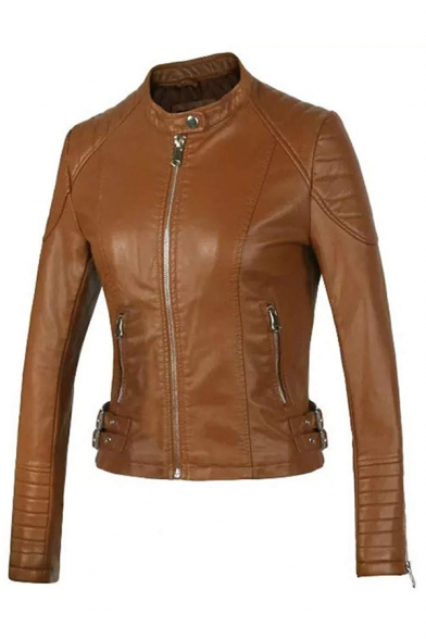 Cool Fashion Girls' Long Sleeve Stand Collar Zipper Front Buckle Detail Ruched Slim Fit Leather Plain Jacket