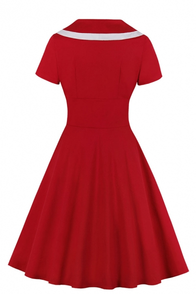 Cute Girls' Plain Short Sleeve Lapel Collar High Waist Double Breasted Contrast Piped Midi Pleated Flared dress