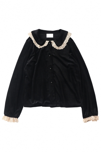 Cute Vintage Long Sleeve Peter Pan Collar Button Down Lace Trim Velvet Baggy Plain Blouse Top for Women, Black;gray blue, LM581114