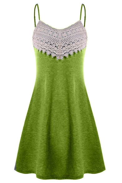 Ethnic Ladies' Plain Sleeveless Floral Embroidered Lace Patched Midi Pleated A-Line Cami Dress