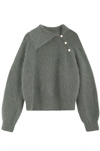Fashion Green Long Sleeve Exaggerate Collar Button Detail Fuzzy Knit Relaxed Pullover Sweater Top for Women
