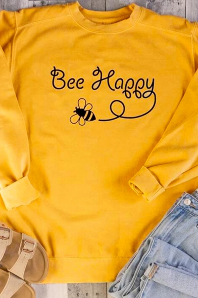 Funny Letter BEE HAPPY Printed Long Sleeve Crewneck Relaxed Fit Graphic Sweatshirt LC582795 фото