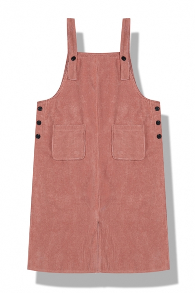 Girls' Cute Plain Sleeveless Button Pockets Detail Corduroy Relaxed Straight Overall Dress