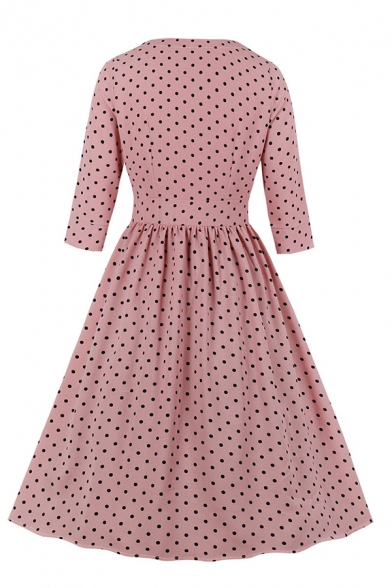 Gorgeous Ladies' Three-Quarter Sleeve V-Neck Button Down Polka Dot Print Pleated Midi Flared A-Line Dress in Pink