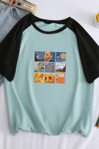 Hot Popular Famous Oil Painting Collage Short Sleeve Crewneck Casual T-Shirt