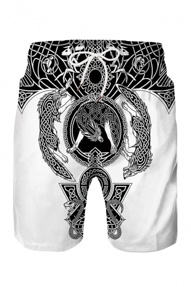 Indian Style Tribal Pattern Drawstring Waist Loose Fit Beach Shorts for Men