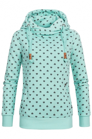 Ladies Classic Heart Pattern Long Sleeve Funnel Neck Fitted Thick Pullover Hoodie, Light blue;light green;light pink, LM575824