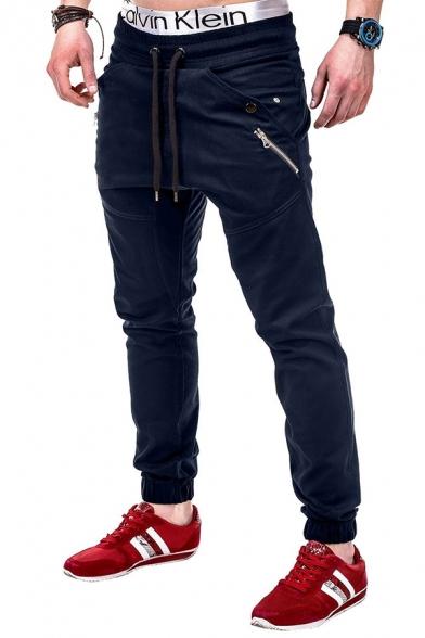 Men's Simple Plain Drawstring Waist Zipper Decoration Slim Fit Leisure Woven Pants