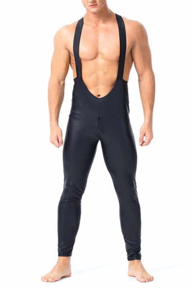 Men's Unique Sleeveless Black PU Leather Skinny Fit Disco Dancing Overalls