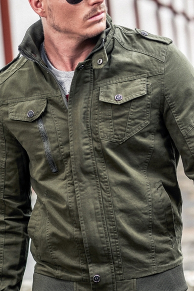 Mens Casual Solid Color Long Sleeves Zip Up Slim Fit Cotton Cargo Jacket