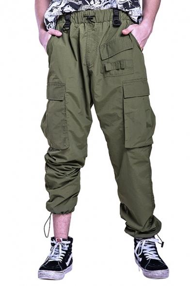 Mens Stylish Plain Drawstring Waist Multi-Pocket Straight Fit Cargo Pants