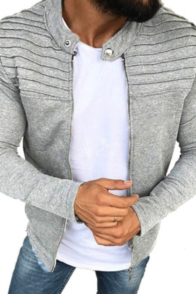 Outdoor Sport Fashion Pleated Detail Long Sleeve Zip Up Plain Sweatshirt Fitted Jacket