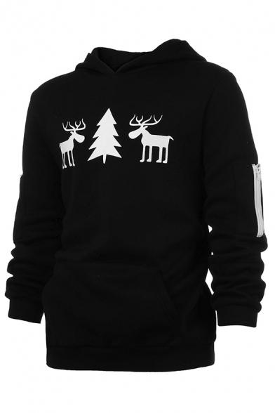 Simple Christmas Tree Elk Print Zipper Embellished Long Sleeve Black Leisure Hoodie