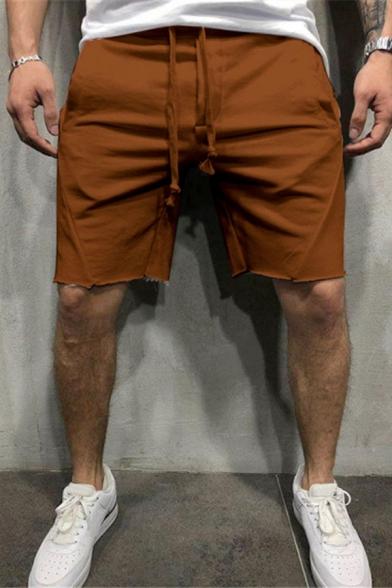 Sport Fashion Men's Simple Plain Drawstring Waist Loose Fit Active Shorts
