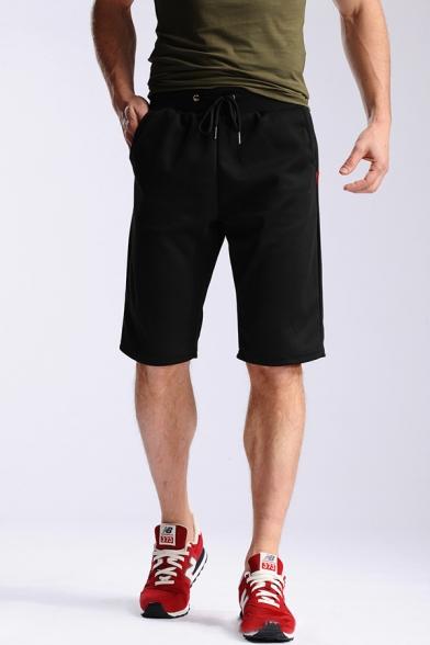 Summer Fashion Plain Drawstring Waist Loose Fit Plain Shorts for Men