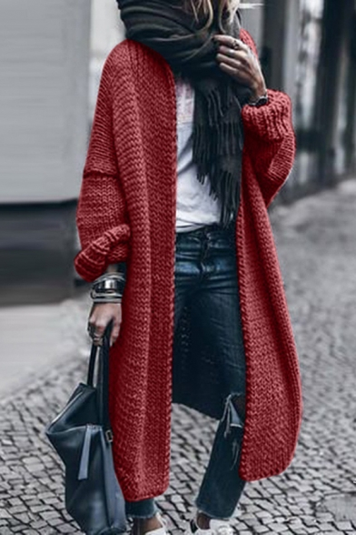 Trendy Street Women's Long Sleeve Chunky Knit Oversize Maxi Plain Cardigan Sweater