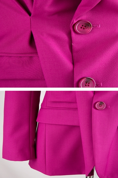 Unique Rose Red Long Sleeve Notch Collar Button Front Ruched Flap Pockets Fitted Blazer for Women