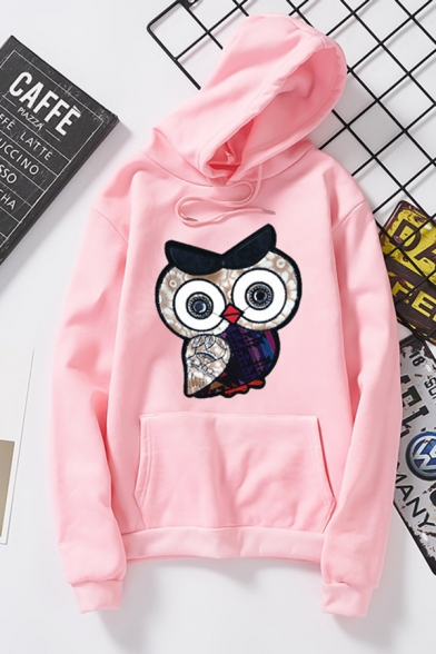 Unique Women' Long Sleeve Drawstring Owl Printed Kangaroo Pocket Loose Hoodie, Black;pink;red;white;gray, LM585639