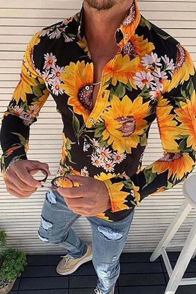 YYear Men Lapel Collar Vintage Floral Printed Slim Fit Long Sleeve Button Down Shirts Tops