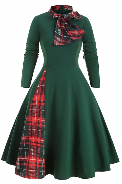 Vintage Women's Long Sleeve Bow Tie Neck Plaid Pattern Patched Zip Back Mid Maxi Pleated Flared Dress