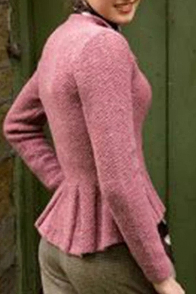Basic Casual Long Sleeve Turn Down Collar Button Down Ruffle Trim Plain Slim Fit Wool Jacket for Women