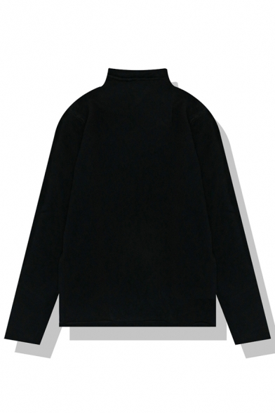 Basic Plain Long Sleeve Mock Neck Rolled Edge Purl-Knitted Relaxed Pullover Sweater for Girls, Black;blue;green;orange;pink;white;apricot;light blue;purple;yellow;khaki;coffee;navy;nude pink, LM580148