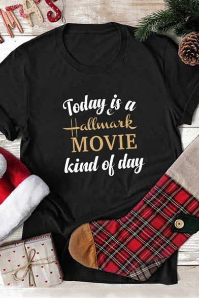 Casual Street Girls' Rolled Cuff Crew Neck TODAY IS A HALLMARK MOVIE KIND OF DAY Letter Relaxed T Shirt