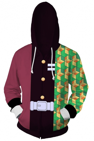 Classic Checked Geometric 3D Pattern Long Sleeve Zip Up Colorblocked Hoodie