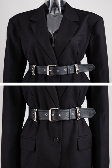 Cool Black Long Sleeve Notch Lapel Collar Button Front Buckle Belted Slim Fit Blazer for Women