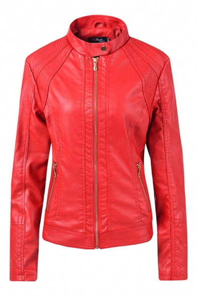 Cool Plain Long Sleeve Mock Neck Zipper Front Pockets Side Fitted Leather Jacket for Girls