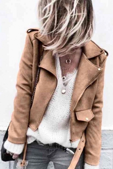 Cool Street Long Sleeve Peak Collar Flap Pockets Button Detail Eyelet Belt Leather Plain Slim Fit Jacket for Women