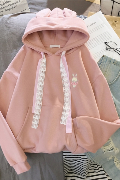 Cute Fashion Girls' Long Sleeve Drawstring Rabbit Embroidered Kangaroo Pocket Relaxed Bunny Ear Hoodie, Blue;pink;apricot, LM585615