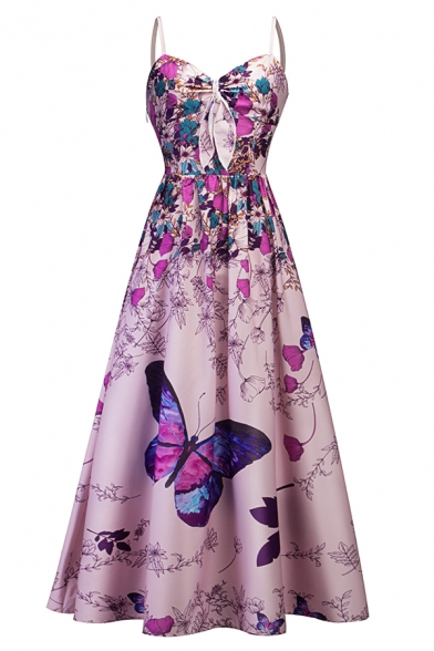 Fancy Ladies' Sleeveless Bow Tie Front Floral and Butterfly Patterned Maxi Pleated A-Line Evening Cami Dress