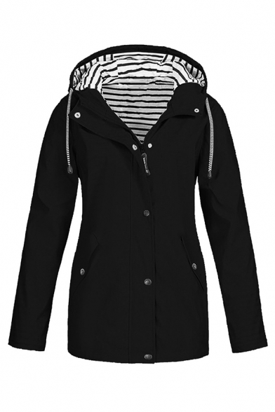 Fashion Girls' Long Sleeve Hooded Drawstring Button Zipper Front Pockets Side Stripe Printed Lined Relaxed Plain Trench Coat, Black;pink;red;yellow;navy, LM579279
