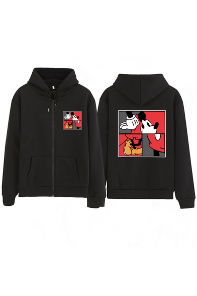 Hip-Hop Girls' Long Sleeve Drawstring Zip Front Mickey Mouse Printed Pockets Loose Fit Hoodie