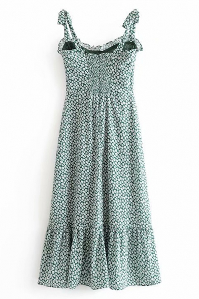 Ladies' Cute Sleeveless Bow Tie Strap Floral Printed Zip Back Ruffled Trim Pleated Fitted A-Line Dress in Green