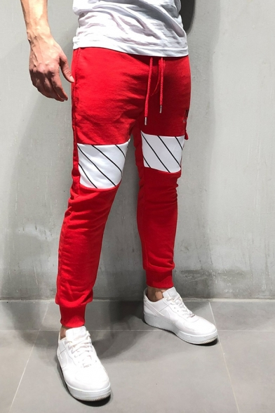 Popular NASA Letter Printed Drawstring Waist Stripe Patchwork Skinny Fit Sweatpants