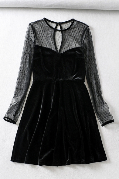 Sexy Girls' Long Sleeve Crew Neck Cut Out Back See-Through Mesh Patched Velvet Short A-Line Dress in Black