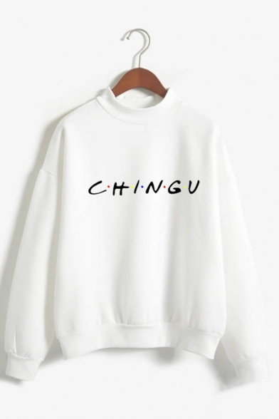 Simple Letter CHINGU Printed Long Sleeves Mock Neck Loose Fit Pullover Sweatshirt, Green;pink;red;white;dark blue;gray;khaki;sky blue, LC587049