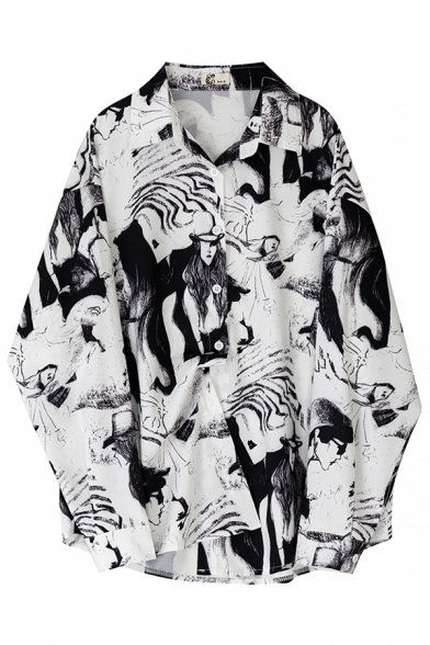 White Unique Street Balloon Sleeve Lapel Collar Button Down All Over Cartoon Print Relaxed Fit Shirt for Female
