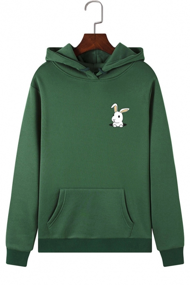 Womens Cute Rabbit Printed Long Sleeve Kangaroo Pocket Drawstring Hoodie