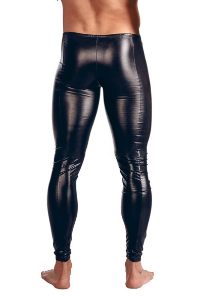 Black Patent Leather Zipper Front Skinny Fit Nightclub Pants for Men