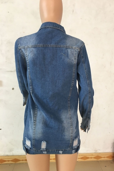 Blue Cool Long Sleeve Lapel Neck Flap Pockets Distressed Button Down Frayed Trim Loose Fit Midi Denim Jacket for Girls
