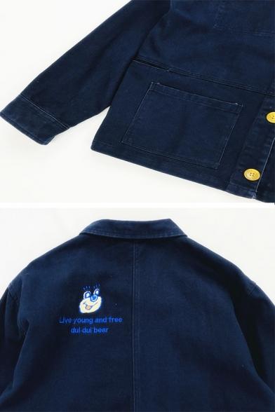 Cute Women Long Sleeve Lapel Collar Button Down Bear Print Letter LIVE YOUNG AND FREE DUI DUI BEAR Loose Denim Jacket