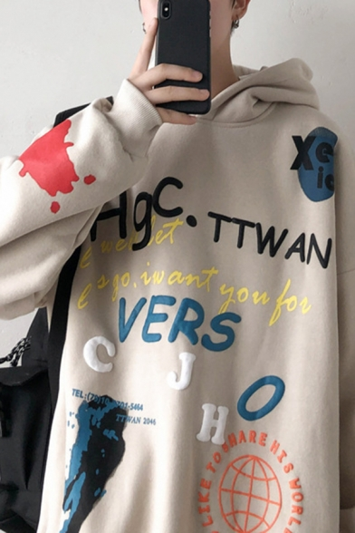 Edgy Girl Popular Letter Graffiti Printed Long Sleeve Thick Oversized Hoodie, Black;apricot, LC583392
