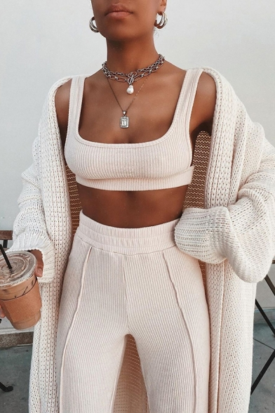 Edgy Womens Plain Nude Cropped Tank Top with Ribbed Loose Pants Sexy Co-ords
